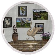 Round Beach Towel featuring the mixed media virtual exhibition_Statue of swan 23 by Pemaro