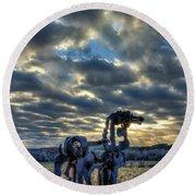 Visible Light The Iron Horse Sunrise Art Round Beach Towel