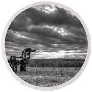 Visible Lights The Iron Horse Sunrise Art Round Beach Towel