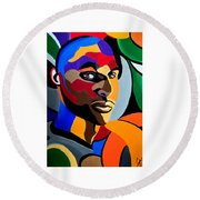Visionaire - Abstract Male Face Painting - Abstract Art - Print Round Beach Towel