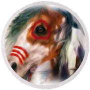 Visionary War Horse Round Beach Towel