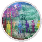 Visions Of Future Beings Round Beach Towel