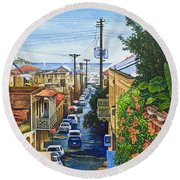 Round Beach Towel featuring the painting Visions Of Paradise Vii by Michael Frank
