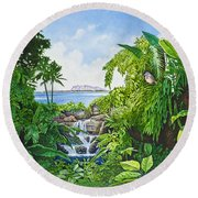 Round Beach Towel featuring the painting Visions Of Paradise Ix by Michael Frank