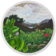 Round Beach Towel featuring the painting Visions Of Paradise Viii by Michael Frank