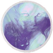 Round Beach Towel featuring the painting Visions Of The Night by Denise Fulmer