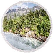 Round Beach Towel featuring the photograph Visit Montana by Margaret Pitcher