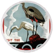 Visit The Zoo Egrets  Round Beach Towel