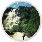 Visit To Tvindefossen Falls Round Beach Towel