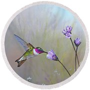 Visiting The Purple Garden Round Beach Towel