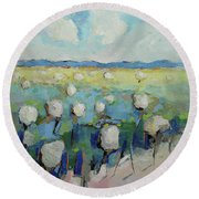 Visiting Town 1601 Round Beach Towel