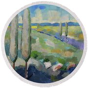 Visiting Town 1602 Round Beach Towel