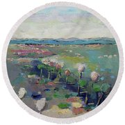 Visiting Town 1603 Round Beach Towel