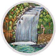 Visitors To The Falls Round Beach Towel