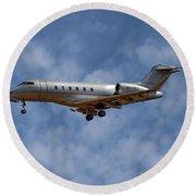 Vista Jet Bombardier Challenger 300 1 Round Beach Towel