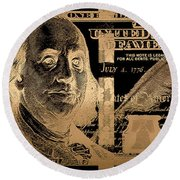 One Hundred Us Dollar Bill - $100 Usd In Gold On Black Round Beach Towel