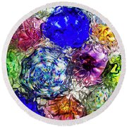 Vitreous Flora Round Beach Towel by Gary Holmes