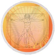 Round Beach Towel featuring the photograph Vitruvian Man Beach by Robert G Kernodle