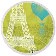 Viva La Paris Round Beach Towel