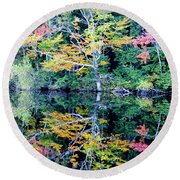 Vivid Fall Reflection Round Beach Towel