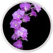 Vivid Purple Orchids Round Beach Towel