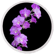 Vivid Purple Orchids Round Beach Towel