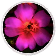 Vivid Rich Pink Flower Round Beach Towel