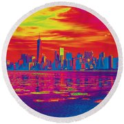 Vivid Skyline Of New York City, United States Round Beach Towel