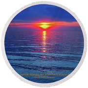 Vivid Sunset - Emerson Quote - Square Format Round Beach Towel