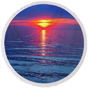 Round Beach Towel featuring the photograph Vivid Sunset by Ginny Gaura
