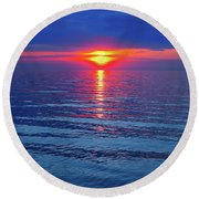 Vivid Sunset - Square Format Round Beach Towel