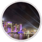 Round Beach Towel featuring the photograph Vivid Sydney Skyline By Kaye Menner by Kaye Menner