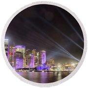 Vivid Sydney Skyline By Kaye Menner Round Beach Towel