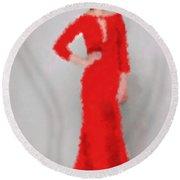 Round Beach Towel featuring the digital art Vivienne by Nancy Levan
