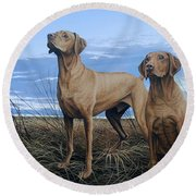 Vizslas Round Beach Towel