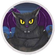 Vlad Vampire Cat Round Beach Towel