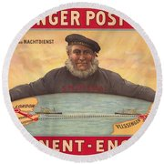 Vlissinger Post Route - Zeeland Maritime Company Poster - London To Flushing Ship Route Round Beach Towel