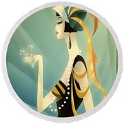 Round Beach Towel featuring the digital art Vogue - Bird On Hand by Chuck Staley