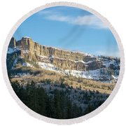 Volcanic Cliffs Of Wolf Creek Pass Round Beach Towel