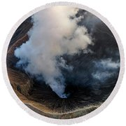 Volcanic Crater From Above Round Beach Towel