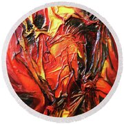 Round Beach Towel featuring the mixed media Volcanic Fire by Angela Stout