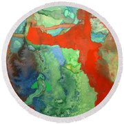 Volcanic Island Round Beach Towel by Mary Ellen Frazee
