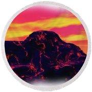 Volcanic Lava Island Round Beach Towel