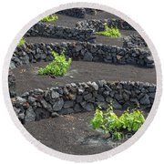 Volcanic Vineyards Round Beach Towel by Delphimages Photo Creations