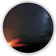 Volcano Under The Milky Way Round Beach Towel