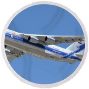 Volga-dnepr An-124 Ra-82068 Take-off Phoenix Sky Harbor June 15 2016 Round Beach Towel
