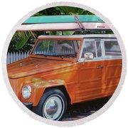 Volkswagen And Surfboards Round Beach Towel