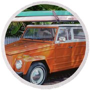Volkswagen And Surfboards Round Beach Towel