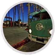 Volkswagen Bus At The Imperial Beach Pier Round Beach Towel