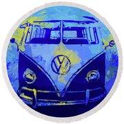 Volkswagen Bus Pop Blue Round Beach Towel